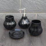 Wholesale Economic Ceramic Black Bathroom Accessories Set