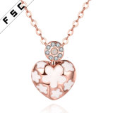 Fashion Handmade Rose Gold Heart Pendant Necklace with Crystal
