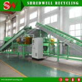 Recycling Line with Double-Shaft Shredder Shredding Used/Worn/Discarded Tire to Crumbs