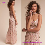 Delicately Scattered Beaded Florals Lend a Touch of Romance Evening Dress with Empire Waist