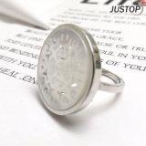 Custom Made Natural Marble Pearl Metal Finger Titanium Ring
