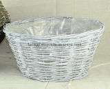 White Washed Round Rattan Flower Pot