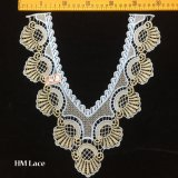 31*34cm V Shape Scalloped Fringe Collar Lace Trimming with Gold Milk Silk Embroidery Hme948