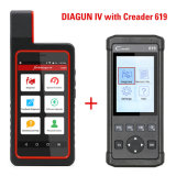 Launch X431 Diagun IV X431 IV Support WiFi Bluetooth Diagnostic Tool with Cr619 Code Reader OBD2/Eobd Function Support Data Record Replay