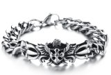 Competitive Price Chain Link Mens Bracelet Punk Rock 316L Stainless Steel Flower Pattern Bracelets for Men jewelry