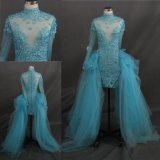 Hand Sewn Flowers Long Sleeve Blue Gown Prom Dress