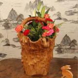 Top Quality Flower Barrels Natural Crafts Wooden Basket