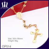 8mm Solid Beads Gold Religious Necklace with Jesus Body