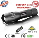 USA EU Hot CREE Xml T6 LED 3800lm Aluminum Waterproof Zoomable Torch 18650 Rechargeable or 3*AAA Battery Zoom Flashlight