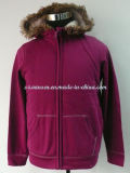 Purple-Red Winter Thermal Sportswear with Kangroo Pocket and Hood