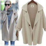 Fast Shipping Women′s Wool Long Sleeve Loose Cardigan Sweater (50229)