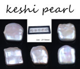 High Quality New 25*30mm White Reborn Keshi Pearl with Case