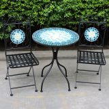 Wrought Iron Mosaic Bistro Set Blue Pattern