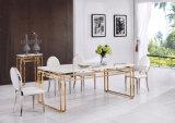 2017 New Wedding Design Mabler Golden Metal Dining Table Set