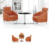 Metal Base Leather Seat Single Reception Bar Sofa (UL-601B)