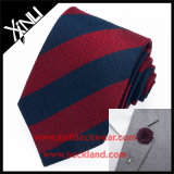 Striped 100% Silk Woven Wholesale Mens Brooches Tie Sets