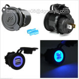 Car 5V 3.1A Dual USB Socket with Blue LED Light Charging Socket Power Adapter
