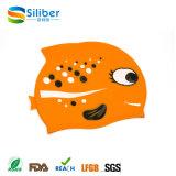 New Product Cartoon Design Unisex Silicone Swimming Cap for Sale