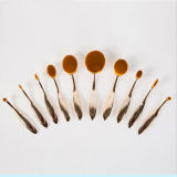 10PCS Tooth Shaped Rose Gold Oval Makeup Brush