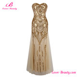 Golden Strapless Sequined Formal Night Gown Evening Dress