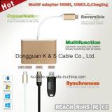 USB-C Adapter Aluminum Alloy to Multi-Port Type C, + 4k HDMI (30Hz) + USB 3.0 Ports