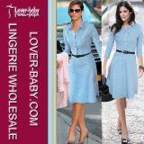 Hot Long Sleeves Polka DOT Print Pleated Blue Women Casual Dress (L36009)