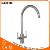 High Quantity Two Lever Brushed Nickel PVD Finished Faucet