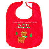 Factory OEM Produce Custom Logo Embroidered Cotton Terry Red Christmas Baby Bib