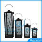 French Country Style Decorative Glass and Metal Candle Lantern