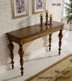 Black Wood Console Table with Caved Shape