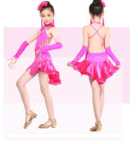 Sexy Performance Costume Long Sleeve Kids Ballroom Latin Dance Dress
