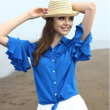 Ladies Fashion Chiffon Ruffele Sleeves off Shoulder Blouse/Woman Tops (S129002)