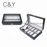 12 Slot Black Watch Box Leather Display Case Box