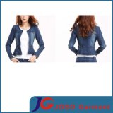 New Style Women Crewneck Short Sleeve Jean Denim Clothing (JC4058)