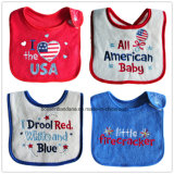 Promotional Customized Cotton Soft Embroideried & Applique Cute Cartoon Waterproof Absorbent Terry Baby Bibs