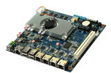 1u Mini PC 4 LAN Fanless Motherboard with D2550 Processor