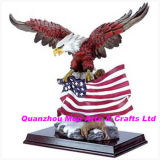 Polyresin/Resin Eagle with Flag, Polystone Eagle