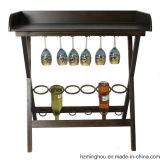 Vintage Metal Wine Display Stand with Tabletop Displaying Storage Rack