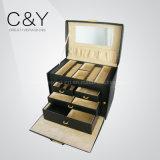 Luxury Black Croco PU Leather Jewelry Storage Box