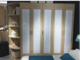 Modern Oak Wood Five Door Wardrobe with Side Cabinet (WW-001)