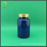 Golden Aluminium Cap Pet 250ml Blue Bottle for Medicine
