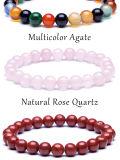 Tiger Eye Buddha Lava Round Beads Elasticity Rope Bracelet
