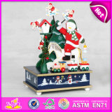 2015 Wooden Christmas Music Toy Products, Christmas Decorations Music Box, High Quality Custom Song Music Box Wholesale W07b016A