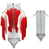 Garment Rail Display/3 Sides Mobile Mesh Clothing Display Rack