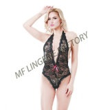 China Factory Hot Underwear Black Deep V Neck Woman Lingerie