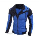 Combination Color Winter Bodyfit Warm Jacket Cap Zipper up Men′s Hoodie
