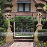 Pillar Travertine High Outdoor Planter with Statues Sculpture