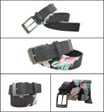 Flower Print Black Cotton & PU Fashion Belt