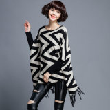 Women Fashion Wave Pattern Cotton Nylon Knitted Fringe Poncho (YKY2052)