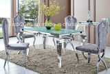 Modern Home Living Room Furniture Glass Top Stainless Steel Dining Table Sets